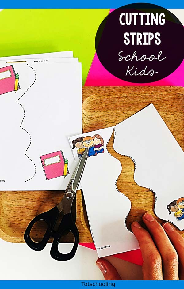 FREE printable School-themed cutting sheets for prek kids to practice scissor skills.