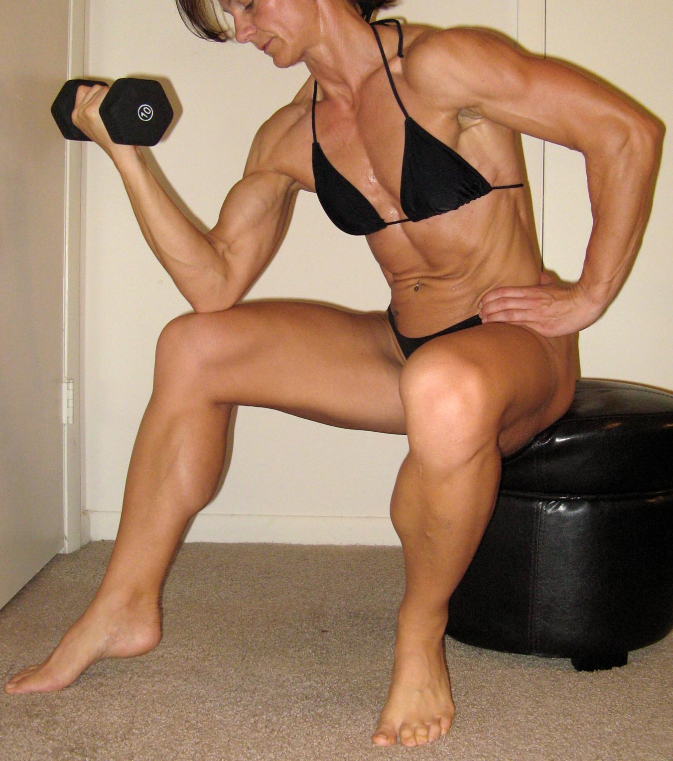Asian girls flexing biceps
