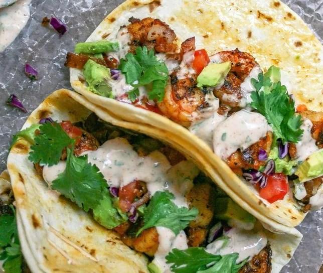 spicy shrimp tacos + sour cream cilantro sauce #fortwo #lunch