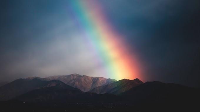 Papel de Parede para Celular Pôr do Sol com Arco-Íris