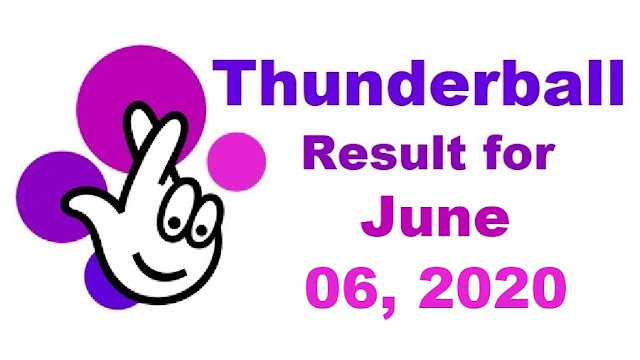 Thunderball Results for Saturday, June 06, 2020