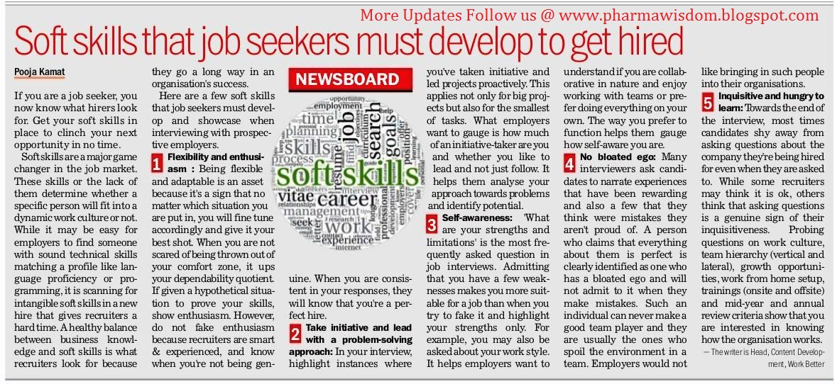 PHARMA WISDOM Soft skills that Job seekers must develop to get - what skills and qualities do employers look for