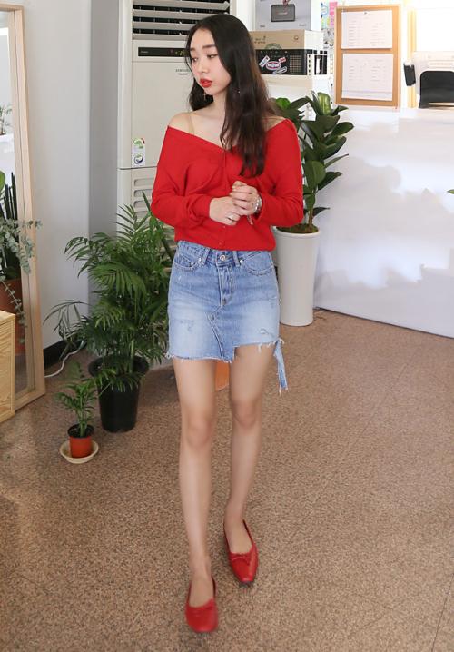 Asymmetrical Raw Hem Washed Denim Skirt