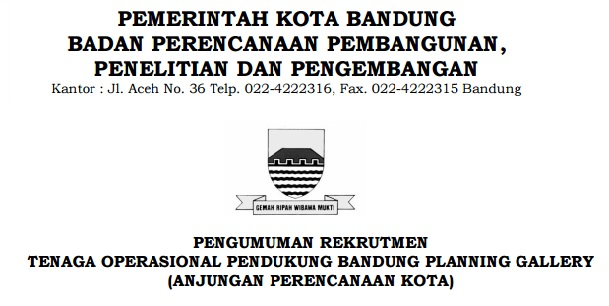 Lowongan Kerja BAPPELITBANG Kota Bandung Minimal SMA SMK
