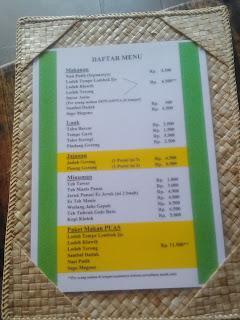Daftar menu Makanan di Kopi Klotok Kaliurang