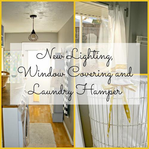 Laundry Room Redo - New Lighting, Window Covering and Laundry Hamper