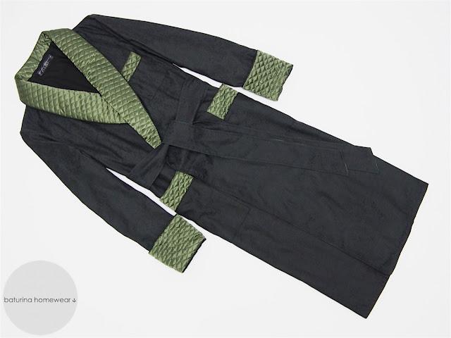 mens quilted silk robe black luxury dressing gown extra long warm lined floor length elegant gentleman vintage style