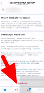 Twitter Deactivate account option