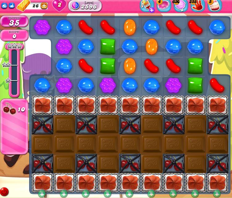 Candy Crush Saga level 2596