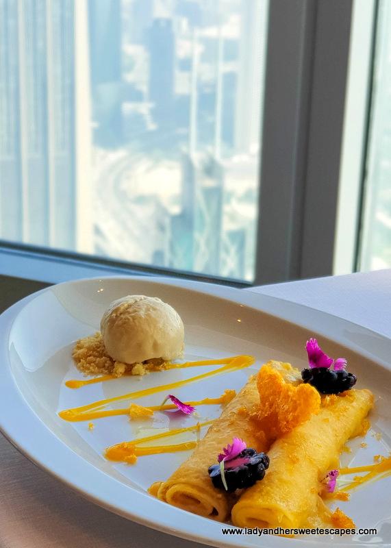 sweet breakfast crepe in Atmosphere Burj Khalifa