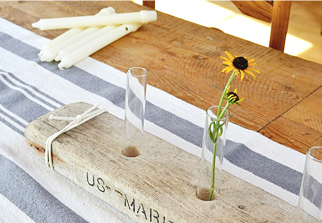 driftwood centerpiece with test tubes