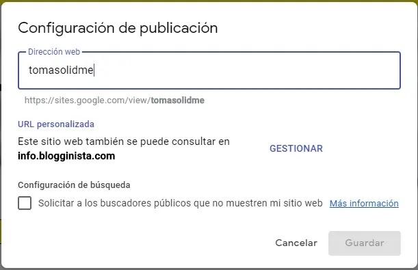 publicar google sites con url personalizada