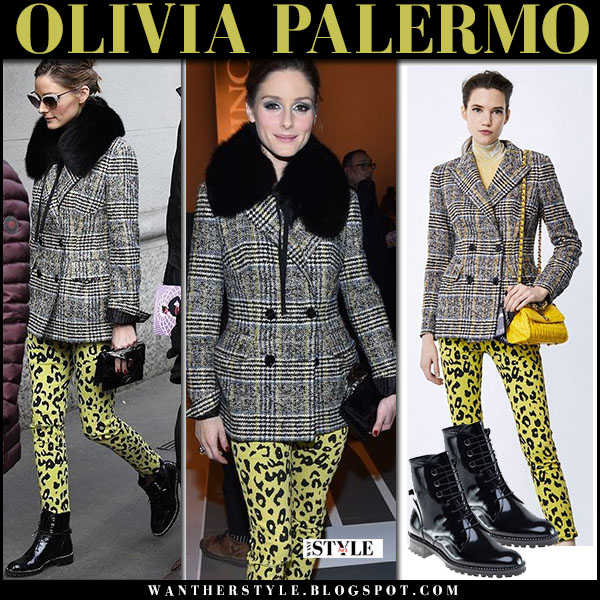Olivia Palermo in grey tweed plaid jacket and yellow leopard print pants ermanno scervino fashion week outfit february 2018