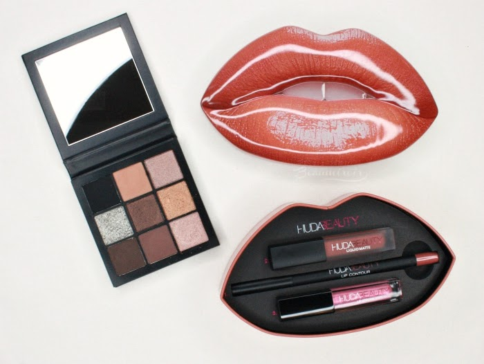 Huda Beauty Obsessions Smokey palette lip contour strobe set lips box tin