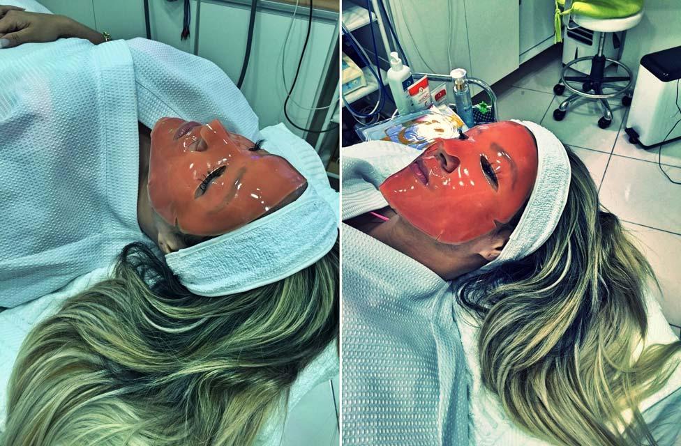 Verônica Araújo faz aplicação de máscara de colágeno para rejuvenescer a pele. Foto: Juliano Mendes Assessoria