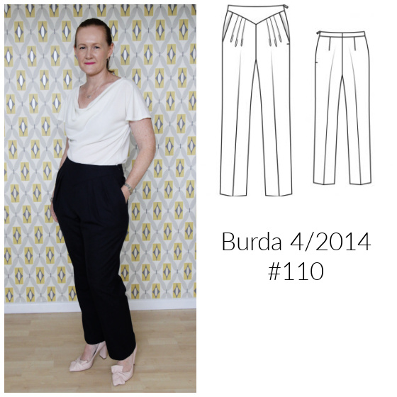 a white lady posing in a pair of navy blue wool pants and white top, and an image of a sewing pattern for pleated pants