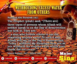 MAJOR SIN. 61. WITHHOLDING EXCESS WATER FROM OTHERS