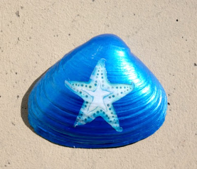 Painted Clam Seashells with Starfish Design