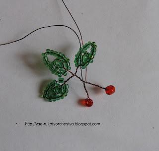 Дерево из бисера спелая вишня. Мастер-класс