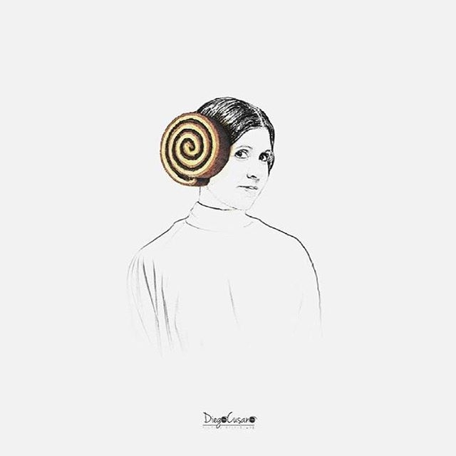 01-Carrie-Fisher-Diego-Cusano-Combining-Drawings-with-the-Real-World-www-designstack-co