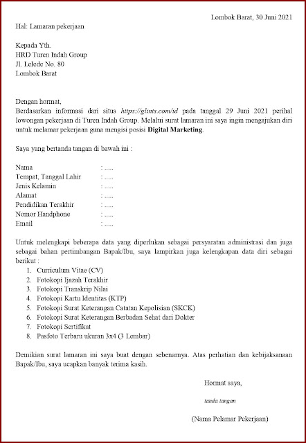 Contoh Application Letter Untuk Digital Marketing (Fresh Graduate) Berdasarkan Informasi Dari Website