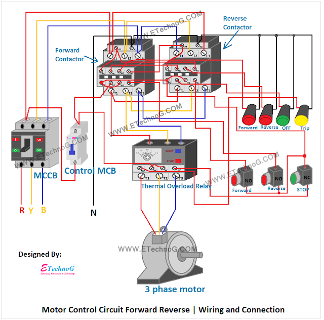 motor control circuit forward reverse  wiring and