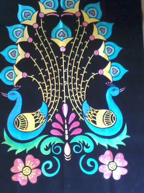 Vintage Cute Wallpaper Arts And Crafts Eboss Painting Peacock Design