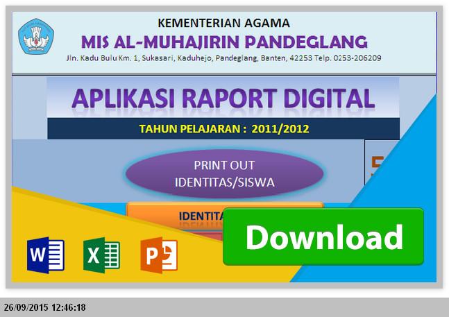 Unduh Gratis Aplikasi Raport MTs KTSP dengan Excel Gratis Revisi Terbaru