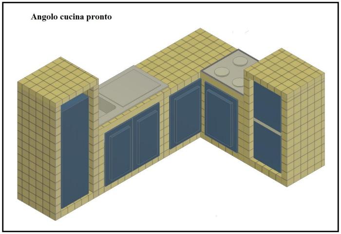 Costruire una cucina in muratura il fai da te - Come progettare una cucina ad angolo ...