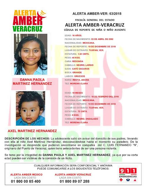 Activan Alerta Amber para Danna Paola y Axel Martinez Hernandez en Tuxpan