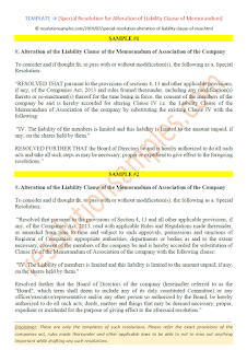 Special Resolution for alteration of Liability clause of Memorandum of Association MOA