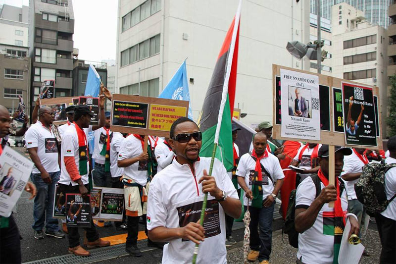 Photos: IPOB holds protest for release of Nnamdi Kanu