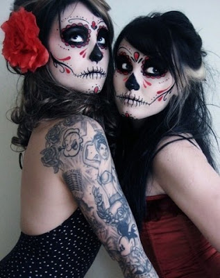 day of the dead makeup retro girls