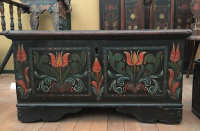 Traditional Folk Art painted chest photographed in Hungary.