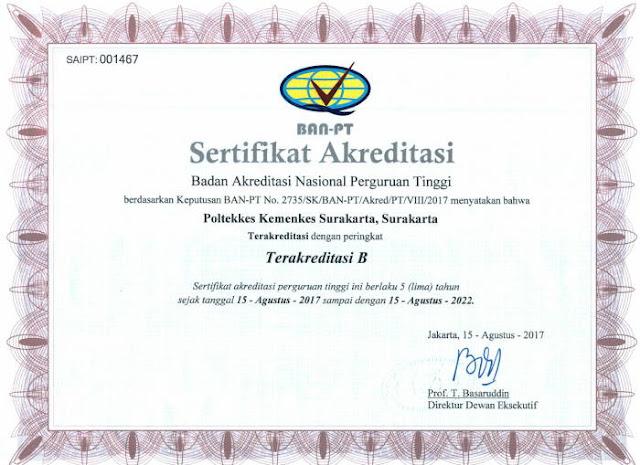 Akreditasi institusi Poltekkes Surakarta