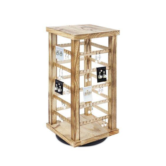 #WD3600-OK Wooden Rotating Earring Display Rack, Oak