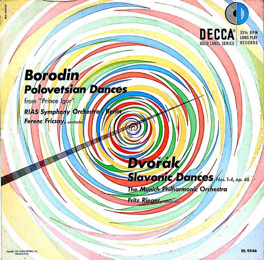 "an Erik Nitsche design for a recording of ""Dvorak Slavic Dances"" showin a conductor's baton over colors"