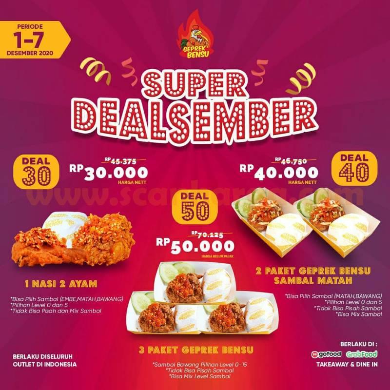 Geprek Bensu Promo Super DealSember: Harga Spesial Paket DEAL mulai Rp 30rB*