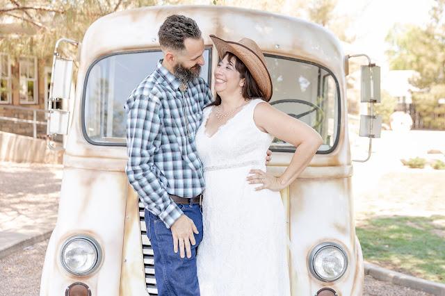 bride and groom portraits with a vintage metro van and meander gatherings