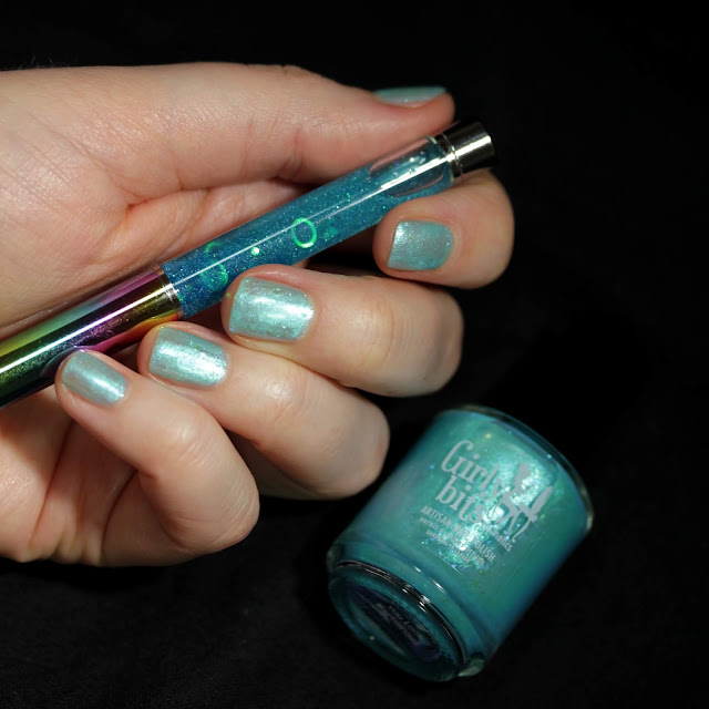 Girly Bits You Look Marble'ous Nail Polish and Glitter Globe Pen swatch by Streets Ahead Style