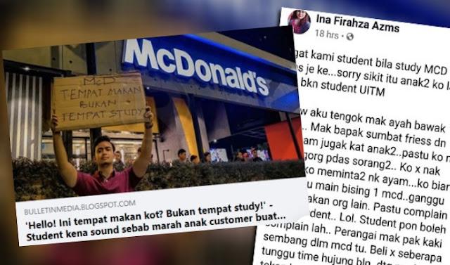 'Ingat kami student study kat McD beli fries je ke? Eww~ ada hati nak lawan customers tetap' - Student ini selar geng mak bapak complaint trend study di McD