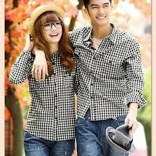 Baju Kemeja Kotak - Kotak Couple Lengan Panjang