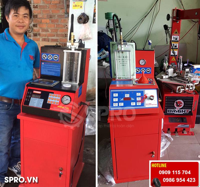 Máy súc rửa béc phun T2C và AI600 dành cho tiệm sửa xe máy