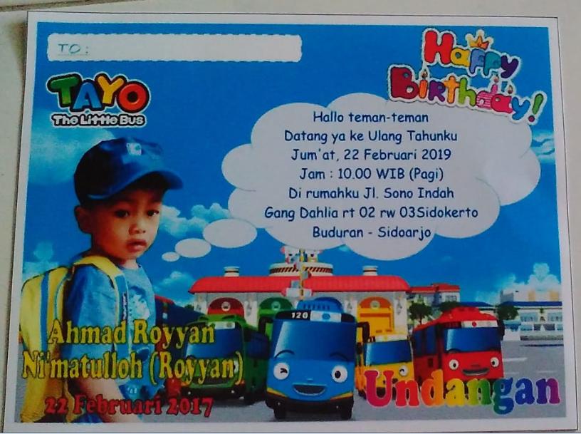 Contoh Desain Kartu Undangan Ulang Tahun Anak