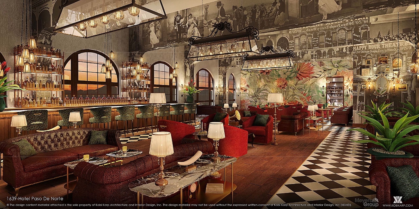 This Rendering Shows A Renovated Bar And Lounge Area Inside The Hotel Paso Del Norte In El Meyers Group
