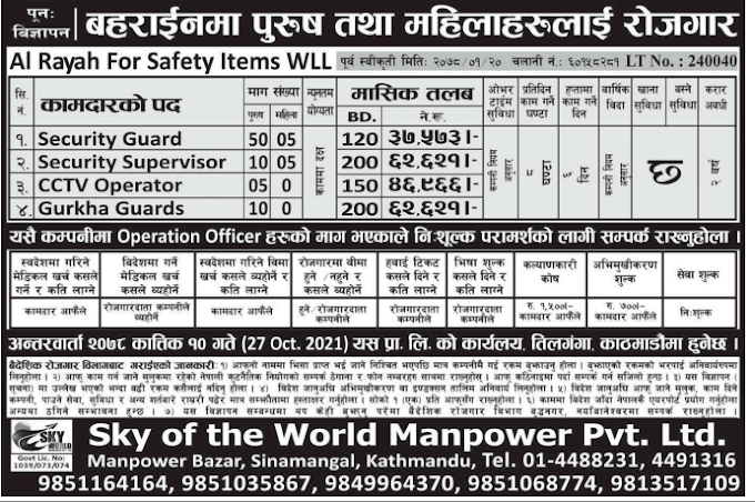 Jobs in Bahrain for Nepali, salary NRs 62,621