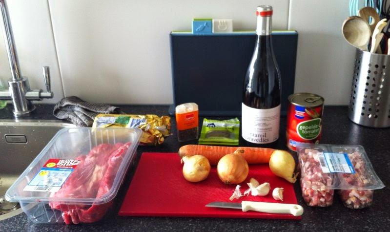 Ingrediënten voor de stoofschotel