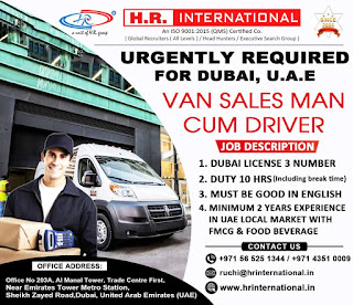 Van Sales Man cum Driver for Dubai