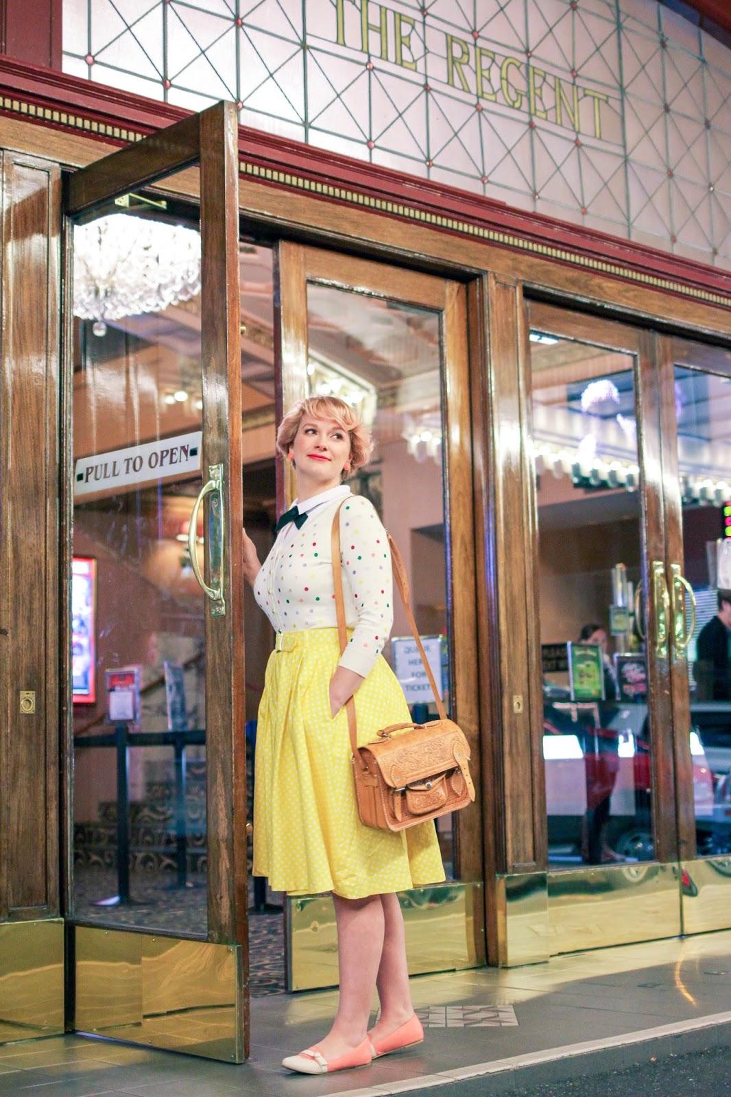 Liana of Finding Femme visits Regent Multiplex Cinema Ballarat wearing an embroidered Alannah Hill cardigan and yellow Modcloth skirt.