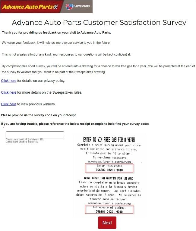 Advance Auto Parts customer service survey